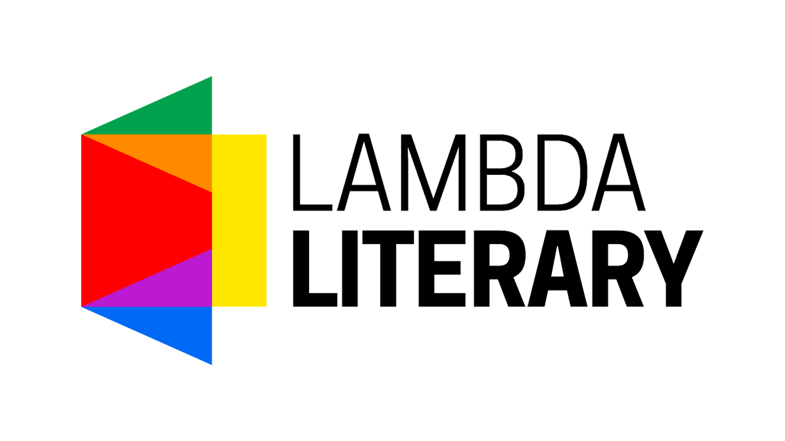 "Lambda logo with a prism of rainbow colors next to the words ""Lambda Literary"""