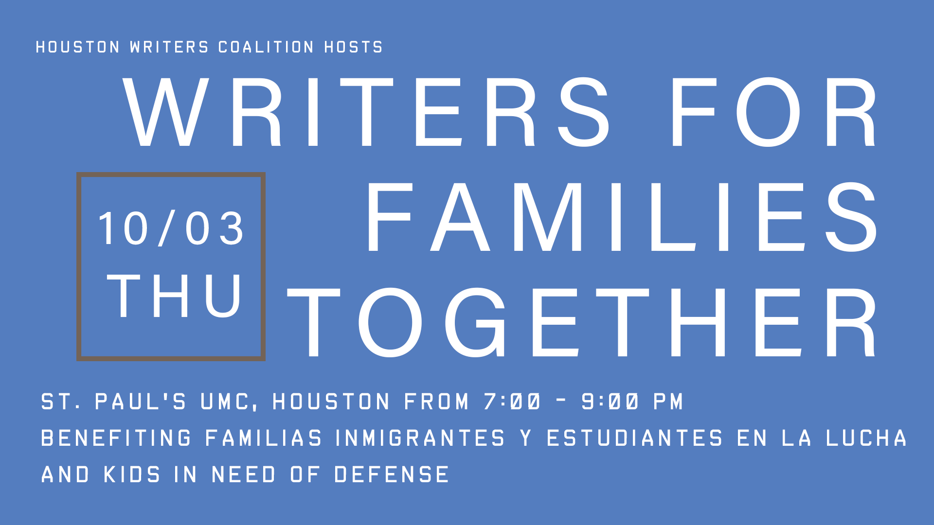Writers for Families Together flyer