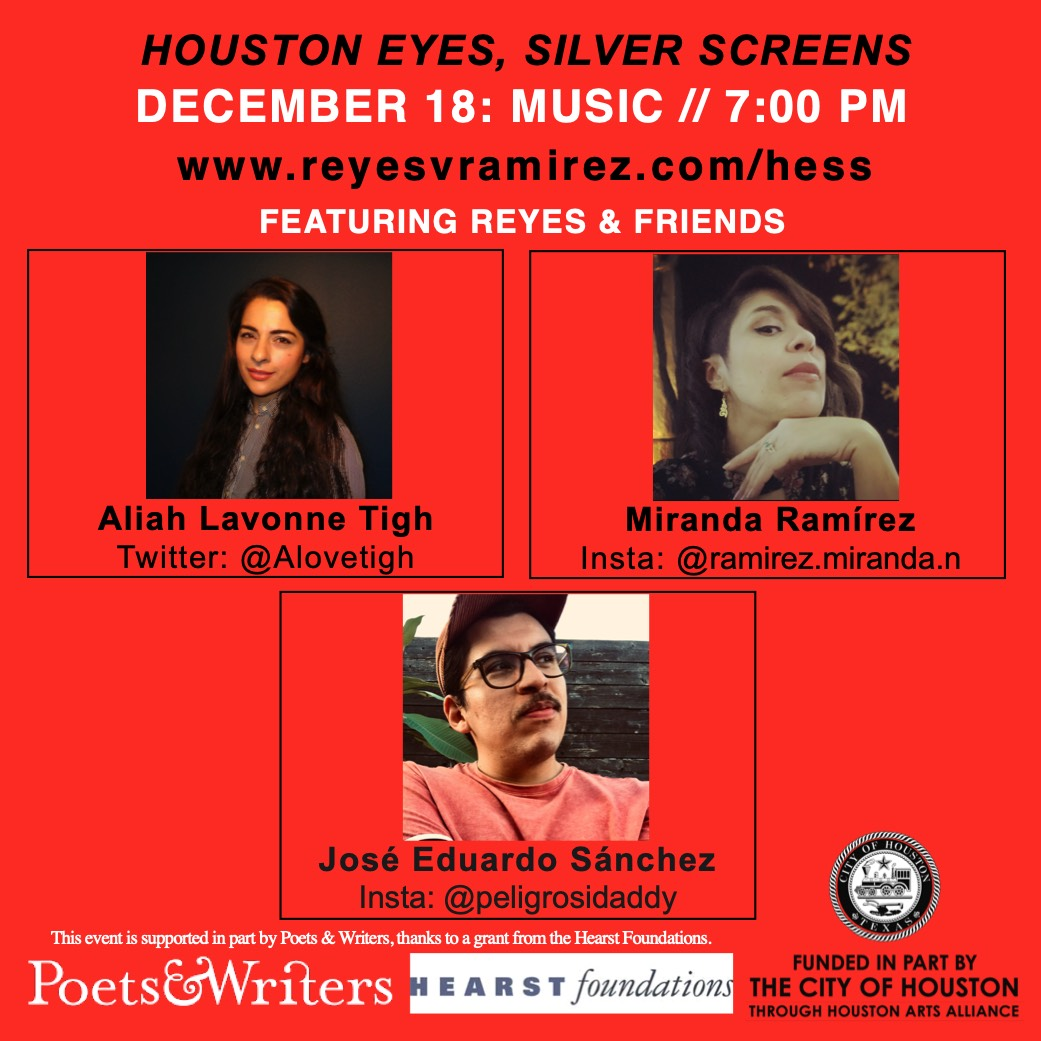 Flyer for Houston Eyes, Silver Screens virtual event on December 18 with Miranda Ramírez, Aliah Lavonne Tigh, and José Eduardo Sánchez.