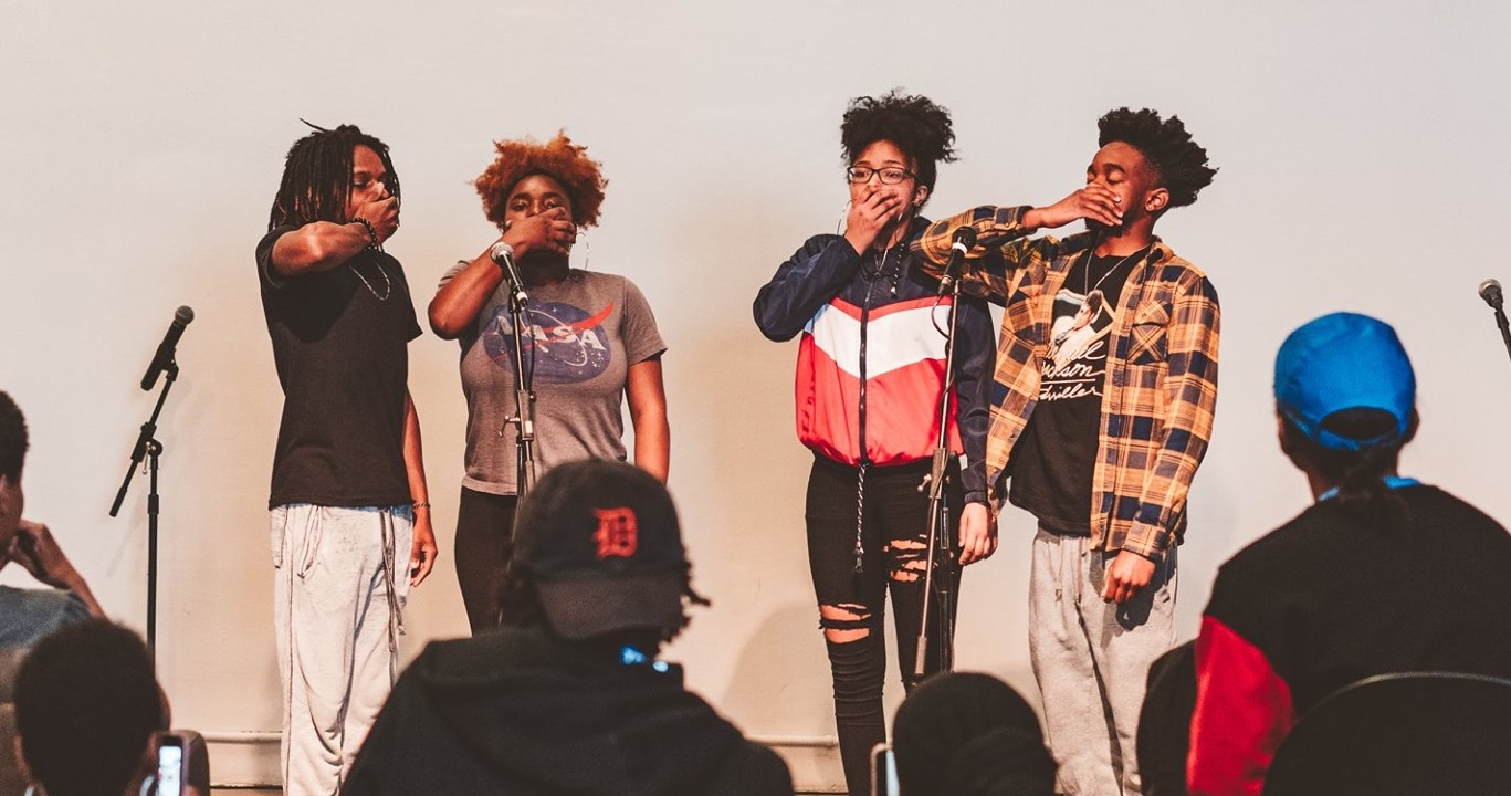 Detroit Youth Poetry Slam Team performance