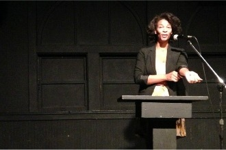 <p>Ashaki M. Jackson reads for Rhapsodomancy at the 2013 Connecting Cultures reading hosted at Beyond Baroque in Los Angeles, California, on June 27, 2013.</p>