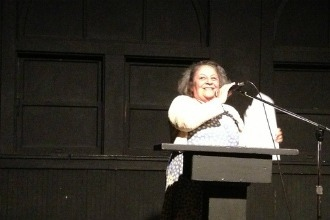 <p>Dolores De Luce reads for QueerWise at the 2013 Connecting Cultures reading hosted at Beyond Baroque in Los Angeles, California, on June 27, 2013. </p>