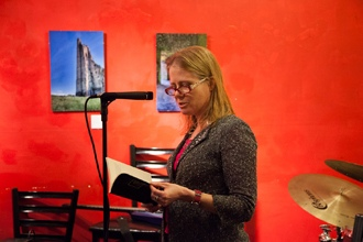<p>Poet Jean Monahan reads at the Lunar Walk Reading Series at Two Moon Art House and Cafe in Brooklyn, New York, on February 10, 2013.</p>
