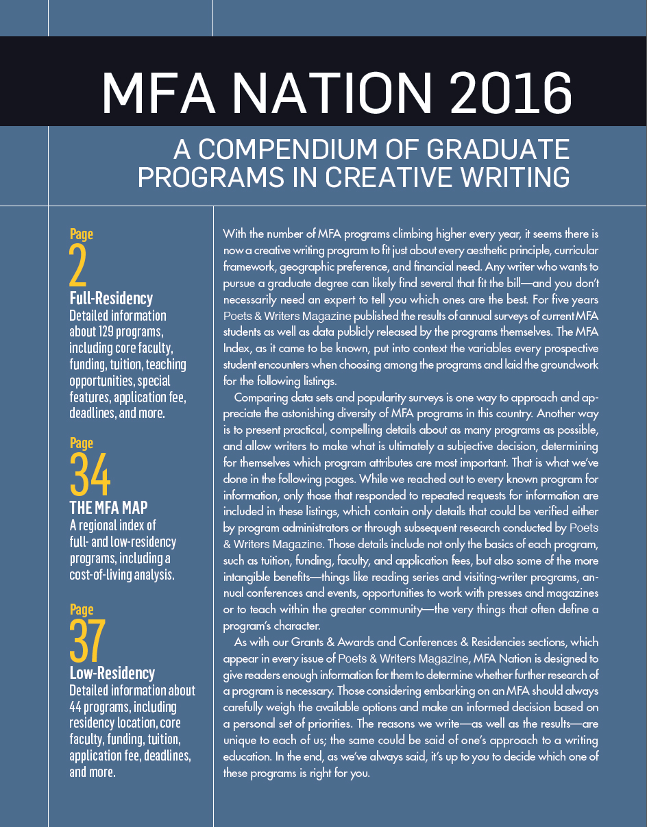 MFA Nation 2016: A Compendium of Graduate Programs in Creative ...