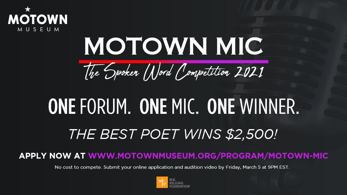 Motown Mic spoken word competition 2021 poster against a black background.