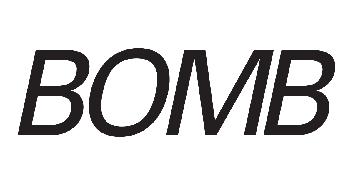 BOMB logo, featuring the word BOMB in italics in a clean modern font