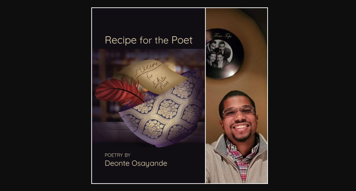 Book cover with a red feather and a handwritten note in a blue and white ceramic bowl for Recipe for the Poet by Deonte Osayande