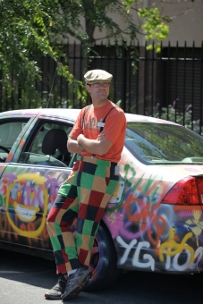 Just Kibbe with his poetry/art car