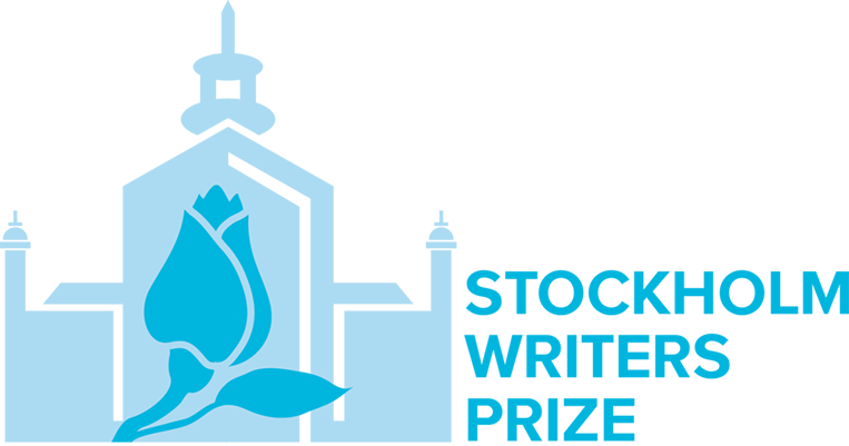 Logo for Stockholm Writers Prize, featuring the silhouette of a building and a flower
