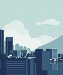 Illustration of Seattle skyline of buildings with a lake and mountain landscape.