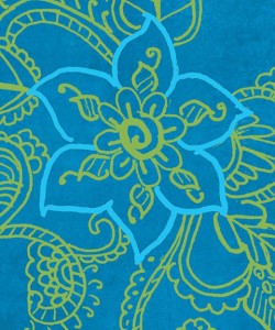 Close-up of the cover of Anjali Enjeti's Southbound. An intricate line drawing of a flower surrounded by leaves and stems in bright blue and green ink.