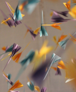 Suspended paper cranes, selectively brought into focus