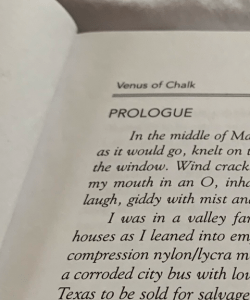 Close-up of the first page of the prologue from Susan Stinson's novel Venus of Chalk. The visible body text is set in italics.
