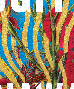 Close-up of the cover of Nawaaz Ahmed's Radiant Fugitives. Wavy bands of gold and blue run on the vertical axis. Woven between the bands are brilliant red flowers.