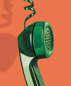 Close-up of the cover of Joshua Ferris's A Calling for Charlie Barnes. A shiny, emerald-green handset of a corded telephone dangles in the air. The background is a warm orange.
