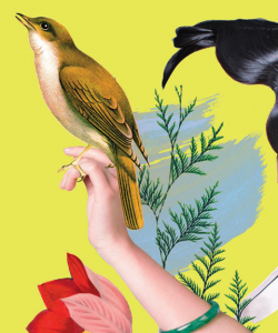 Close-up of the cover of Pik-Shuen Fung's Ghost Forest. An illustrated yellow bird perches on a woman's outstretched arm. The bird and the woman's arm and black hair are cutouts pasted onto a solid yellow-green background.