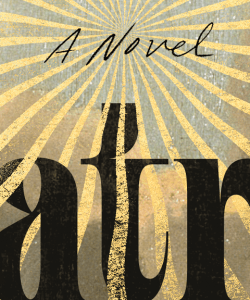 """Close-up of the cover of Lauren Groff's Matrix. The text """"A Novel"""" is visible at the top of the frame in an elegant handwritten-style font. Brilliant gold bands emanate from """"A Novel,"""" winding behind and over a segment of the title text at the bottom."""