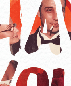 Close-up of the cover of Eleanor Henderson's Everything I Have Is Yours. A photo of the author and her husband is partially visible within brushstroke style letters. She looks up at his face, while he looks forward.