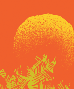 Close-up of the cover of Honorée Fanonne Jeffers's The Love Songs of W. E. B. Du Bois. A graphic, textured rendering of the sun peeking out from behind a tree.