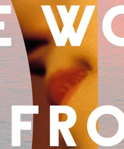 Close-up of the cover of Pedro Mairal's The Woman From Uruguay, translated by Jennifer Croft. An out-of-focus image of a woman's lips is pasted on top of an image of calm water cast in pink tones.