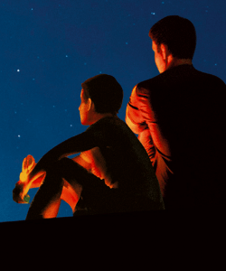 Close-up of the cover of Richard Powers's Bewilderment. A child and an adult sit next to each other gazing up at the night sky. They are partially illuminated by a warm orange light that casts them in dramatic shadows.