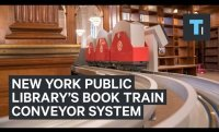 New York Public Library installed a book train conveyor system