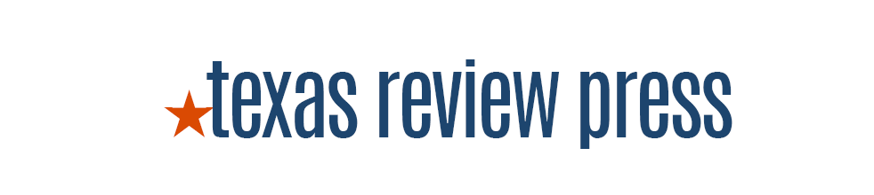Texas Review Press in blocky blue letters, preceded by a red start