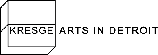"Kresge Arts in Detroit logo. The word ""Kresge"" is inside a line drawing of a cube that appears to rise from the page."