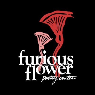 Furious Flower logo, featuring the words Furious Flower Poetry Centeron a black background with two drawings of blossoms